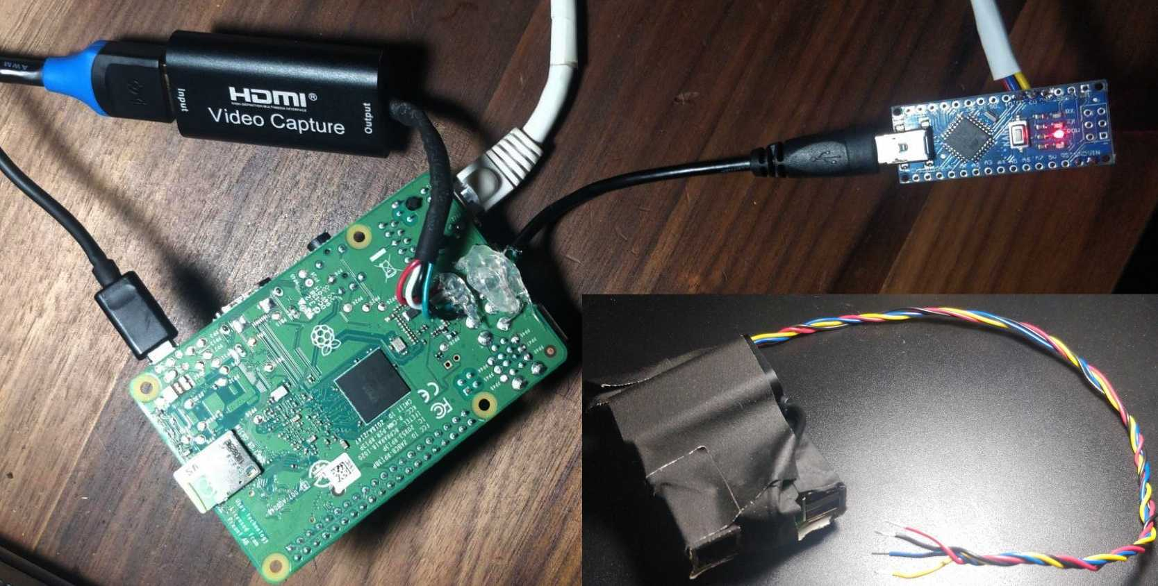 Outer photo: Pi with USBs soldered on. Inner: Taped-up package.