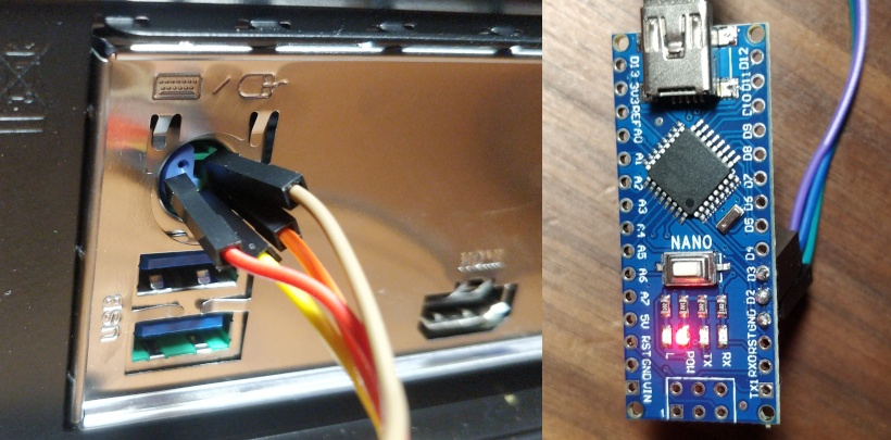 Left: Arduino soldered up. Right: Breadboard jumpers jammed into the PS/2 port